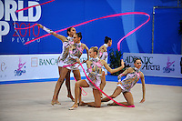 Rhythmic group of Italy performs with ribbon+rope on way to winning All Around gold at 2010 Pesaro World Cup on August 28, 2010 at Pesaro, Italy.  Photo by Tom Theobald.