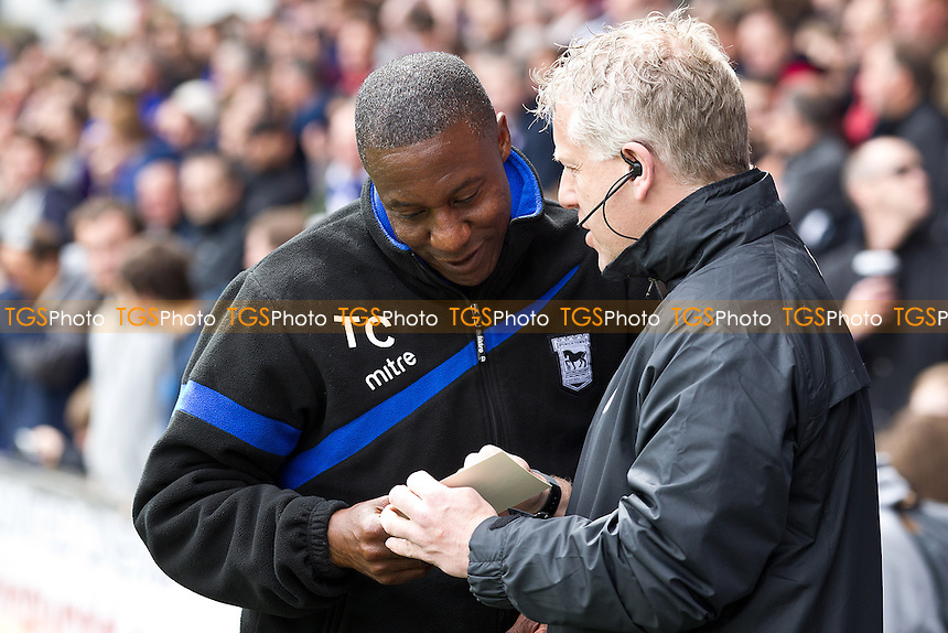 Terry Connor of Ipswich town converses with the fourth official Gavin Muge - Ipswich Town vs Sheffield Wednesday - Sky Bet Championship Football at Portman Road, Ipswich, Suffolk - 03/05/14 - MANDATORY CREDIT: Ray Lawrence/TGSPHOTO - Self billing applies where appropriate - 0845 094 6026 - contact@tgsphoto.co.uk - NO UNPAID USE