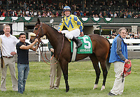 Daisey Devine and James Graham win the 24th running of the Jenny Wiley GR1 $300,000 for trainer Andrew McKeever and owner James Miller.  April 14, 2012.