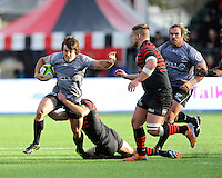 Paul Jordaan of Sharks is tackled during the Sanlam Private Investments Shield match between Saracens and the Cell C Sharks at Allianz Park on Saturday 25th January 2014 (Photo by Rob Munro)