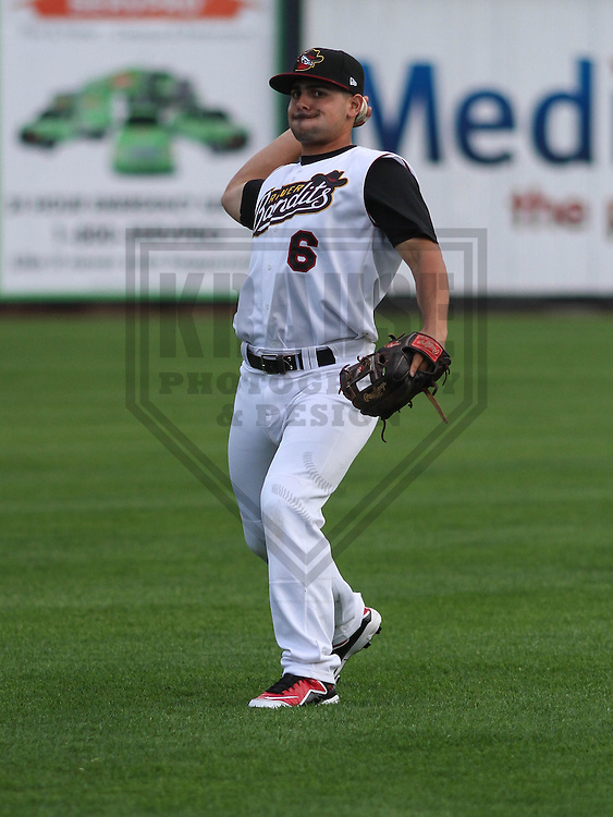 DAVENPORT - May 2015: Quad Cities River Bandits second baseman Alex Hernandez (6) during a Midwest League game against the Wisconsin Timber Rattlers on May 8th, 2015 at Modern Woodmen Park in Davenport, Iowa.  Quad Cities defeated Wisconsin 11-6.  (Brad Krause/Krause Sports Photography)
