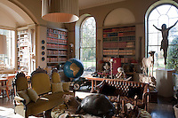 An eccentric collection of stuffed wild animals transforms an otherwise traditional library