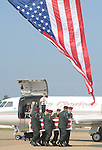 The body of 1st Lt. Donald Carwile, who was killed in action in Afghanistan on August 15, 2008, arrives at Clegg Field in Oxford, Miss. on Thursday, August 21, 2008.