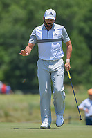 Sergio Garcia (ESP) after sinking his birdie putt on 2 during round 2 of the AT&amp;T Byron Nelson, Trinity Forest Golf Club, at Dallas, Texas, USA. 5/18/2018.<br /> Picture: Golffile | Ken Murray<br /> <br /> <br /> All photo usage must carry mandatory copyright credit (&copy; Golffile | Ken Murray)