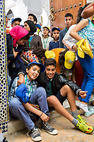 Fes, Morocco.  Moroccan Schoolchildren Leaving the Kairaouine Mosque.