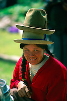 Woman selling hats, Sunday Indian Market (all trading done by barter), Chinchero, Sacred Valley of the Incas, Peru