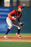 Third baseman Jan Hernandez (3) of the Lakewood BlueClaws plays defense in a game against the Greenville Drive on Thursday, June 23, 2016, at Fluor Field at the West End in Greenville, South Carolina. Lakewood won, 8-7. (Tom Priddy/Four Seam Images)
