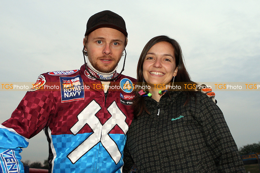 Jonas Davidsson with Nezda Leigh - Lakeside Hammers vs Coventry Bees, Elite League Speedway at the Arena Essex Raceway, Purfleet - 09/04/10 - MANDATORY CREDIT: Rob Newell/TGSPHOTO - Self billing applies where appropriate - 0845 094 6026 - contact@tgsphoto.co.uk - NO UNPAID USE.