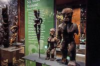 Hawaiian female deity tiki exhibit, Bishop Museum, Honolulu