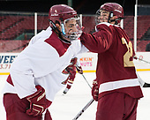 Luke McInnis (BC - 3), Matthew Gaudreau (BC - 21) - The Boston College Eagles practiced at Fenway on Friday, January 6, 2017, in Boston, Massachusetts.