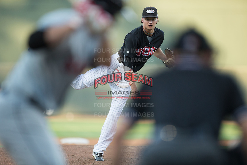 Winston-Salem Dash starting pitcher Spencer Adams (12) delivers a pitch to the plate against the Salem Red Sox at BB&T Ballpark on June 16, 2016 in Winston-Salem, North Carolina.  The Dash defeated the Red Sox 7-1.  (Brian Westerholt/Four Seam Images)