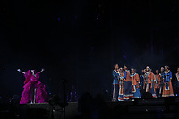 JOHANNESBURG, SOUTH AFRICA - DECEMBER 2:  Beyonce performs with the Soweto Choir during the Global Citizen Festival: Mandela 100 at FNB Stadium on December 2, 2018 in Johannesburg, South Africa. (Photo by Trevor Stuurman/Parkwood/PictureGroup)
