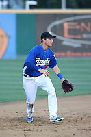 Nate Samson (8) of the Rancho Cucamonga Quakes in the field at shortstop during a game against the San Jose Giants at LoanMart Field on August 30, 2015 in Rancho Cucamonga, California. Rancho Cucamonga defeated San Jose, 8-3. (Larry Goren/Four Seam Images)