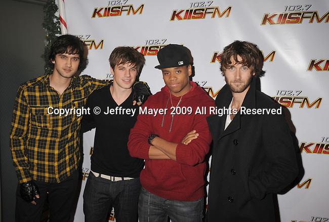 LOS ANGELES, CA. - December 05: Michael Steger, Matt Lanter, Tristan Wilds and Ryan Eggold (L-R) arrive at the KIIS FM's Jingle Ball 2009 at the Nokia Theatre L.A. Live on December 5, 2009 in Los Angeles, California.