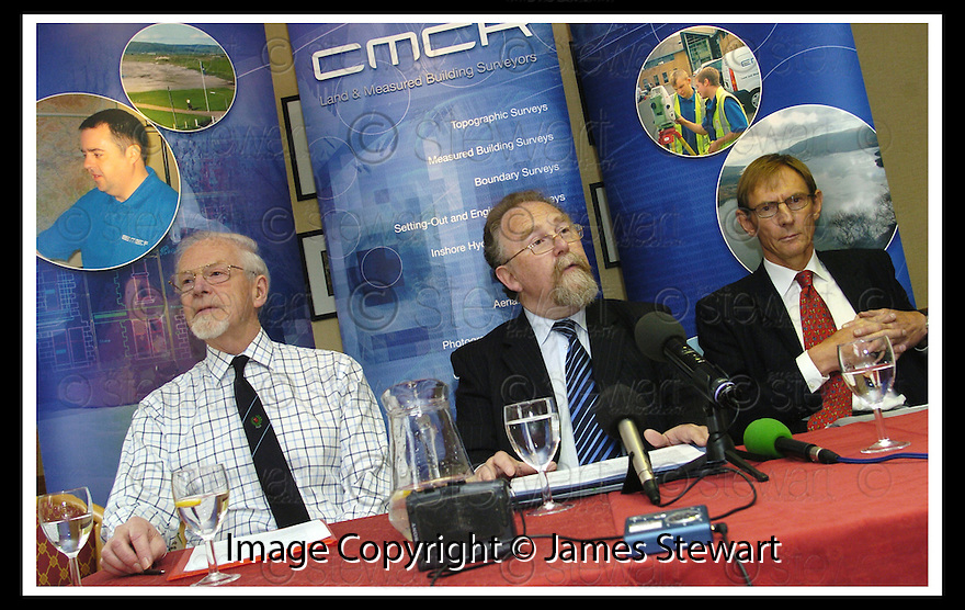 08/06/2007       Copyright Pic: James Stewart.File Name : sct_jspa05_foinaven.DAVID CORFIELD (CENTRE), DIRECTOR OF CMCR LTD, LARBERT, ANNOUNCES TO THE ASSEMBLED MEDIA THAT MEASURMENTS TAKEN BY HIS COMPANY PROVE THAT FOINHAVEN IS JUST 11 FEET SHORT OF BEING A MUNRO.... ALSO PICTURED TO THE LEFT IS DR IAIN ROBERTSON, PRESIDENT OF THE MUNRO SOCIETY......James Stewart Photo Agency 19 Carronlea Drive, Falkirk. FK2 8DN      Vat Reg No. 607 6932 25.Office     : +44 (0)1324 570906     .Mobile   : +44 (0)7721 416997.Fax         : +44 (0)1324 570906.E-mail  :  jim@jspa.co.uk.If you require further information then contact Jim Stewart on any of the numbers above.........