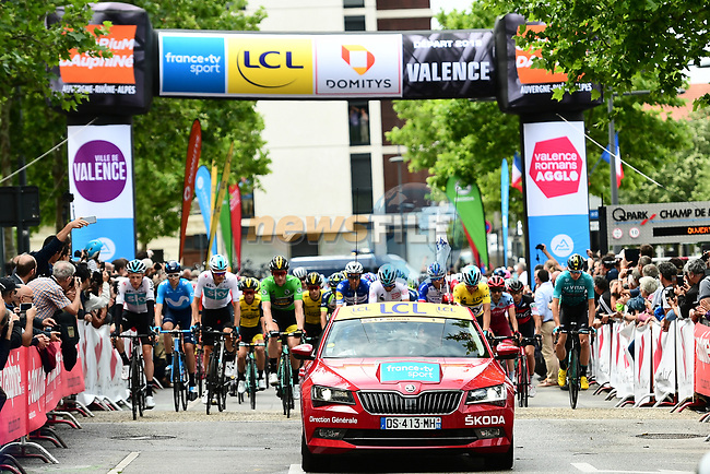 The start of Stage 1 of the 2018 Criterium du Dauphine 2018 running 179km from Valence to Saint-Just-Saint-Rambert, France. 4th June 2018.<br /> Picture: ASO/Alex Broadway | Cyclefile<br /> <br /> <br /> All photos usage must carry mandatory copyright credit (© Cyclefile | ASO/Alex Broadway)