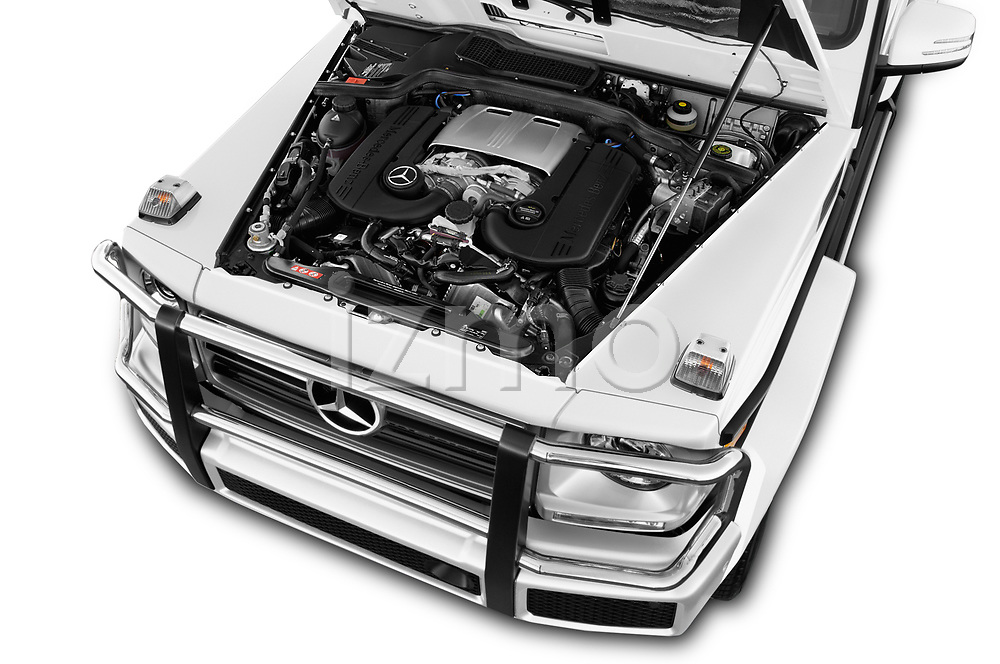 Car stock 2018 Mercedes Benz G-Class G550 5 Door SUV engine high angle detail view