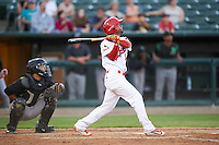 Peoria Chiefs second baseman Eliezer Alvarez (15) at bat in front of catcher Jose Duarte during a game against the Dayton Dragons on May 6, 2016 at Dozer Park in Peoria, Illinois.  Peoria defeated Dayton 5-0.  (Mike Janes/Four Seam Images)