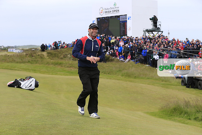 Bradley DREDGE (WAL) finishes at the 18th green during Saturday's Round 3 of the 2015 Dubai Duty Free Irish Open, Royal County Down Golf Club, Newcastle Co Down, Northern Ireland 5/30/2015<br /> Picture Eoin Clarke, www.golffile.ie