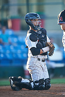Great Falls Voyagers catcher Ty Greene (24) during a Pioneer League game against the Missoula Osprey at Centene Stadium at Legion Park on August 19, 2019 in Great Falls, Montana. Missoula defeated Great Falls 4-1 in the first game of a doubleheader. Games were moved from Missoula after Ogren Park at Allegiance Field, the Osprey's home field, was ruled unplayable. (Zachary Lucy/Four Seam Images)