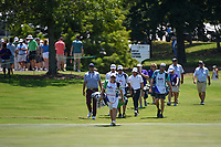 Patrick Cantlay (USA), Marc Leishman (AUS), and Tommy Fleetwood (ENG) head down 18 during round 1 of the WGC FedEx St. Jude Invitational, TPC Southwind, Memphis, Tennessee, USA. 7/25/2019.<br /> Picture Ken Murray / Golffile.ie<br /> <br /> All photo usage must carry mandatory copyright credit (© Golffile | Ken Murray)