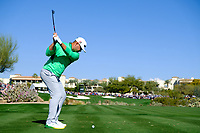Gary Woodland (USA) on the 4th tee during the 2nd round of the Waste Management Phoenix Open, TPC Scottsdale, Scottsdale, Arisona, USA. 01/02/2019.<br /> Picture Fran Caffrey / Golffile.ie<br /> <br /> All photo usage must carry mandatory copyright credit (© Golffile | Fran Caffrey)