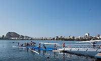 Rio de Janeiro. BRAZIL.  Busy Boating Area.   2016 Olympic Rowing Regatta. Lagoa Stadium,<br /> Copacabana,  &ldquo;Olympic Summer Games&rdquo;<br /> Rodrigo de Freitas Lagoon, Lagoa. Local Time 15:12:36   Friday  05/08/2016 <br /> <br /> [Mandatory Credit; Peter SPURRIER/Intersport Images]