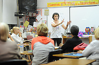 Kyle Tevlin speaks with her class on how to start fun funeral planning Wednesday, October 19, 2016 at Keith Valley Middle School in Horsham, Pennsylvania. Devlin runs a Devon-based, personal-planning business that finds creative ways to hold funerals and memorials at places that meant something to the deceased, whether that's a beach or a bar. (WILLIAM THOMAS CAIN / For The Philadelphia Inquirer)