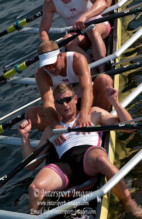 Henley Royal Regatta. Henley-on-Thames, ENGLAND,  02.07.2006.Finals day. Men's Quadruple Scull, Leander Club, Ian LAWSON, collaspes after the final, Photo  Peter Spurrier/Intersport Images.email images@intersport-images.com... Henley Royal Regatta, Rowing Courses, Henley Reach, Henley, ENGLAND [Mandatory credit; Peter Spurrier/Intersport Images] 2006 . HRR.