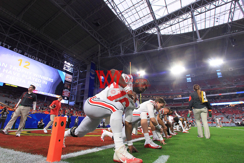 The Ohio State University football team compete at the 2016 Play Station Fiesta Bowl in Glendale, AZ. December 31, 2016.<br /> (Photo by Walt Middleton Photography 2016)