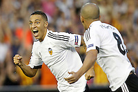 Valencia's Rodrigo (l) and Sofiane Feghouli celebrate goal during Champions League 2015/2016 Play-Offs 1st leg match. August  19,2015. (ALTERPHOTOS/Acero)