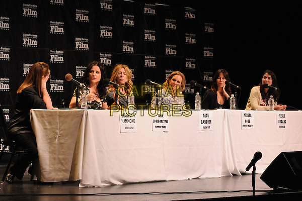 "Madelyn Hammond, Julia Louis-Dreyfus, Dede Gardner, Melissa Cobb, Leslie Urdang, Denise Ream.27th Annual Santa Barbara Film Festival: ""Creative Forces: Women in The Biz"" Panel held at the Lobero Theatre, Santa Barbara, California, USA, .28th January 2012..half length microphone sitting conference.CAP/ADM/BP.©Byron Purvis/AdMedia/Capital Pictures."