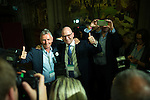 © Joel Goodman - 07973 332324 . 24/06/2016 . Manchester , UK . UKIP deputy leader PAUL NUTTALL (c) and NIGEL EVANS MP (l) celebrate at the declaration in the EU referendum at Manchester Town Hall after it is projected that LEAVE will win . Photo credit : Joel Goodman