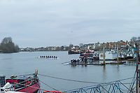 Hammersmith. London. United Kingdom,  Competitors boating from the Funivall SC pontoon. 2018 Men's Head of the River Race.  location Barnes Bridge, Championship Course, Putney to Mortlake. River Thames, <br /> <br /> Sunday   11/03/2018<br /> <br /> [Mandatory Credit:Peter SPURRIER Intersport Images]<br /> <br /> Leica Camera AG  M9 Digital Camera  1/360 sec. 50 mm f. 160 ISO.  17.5MB