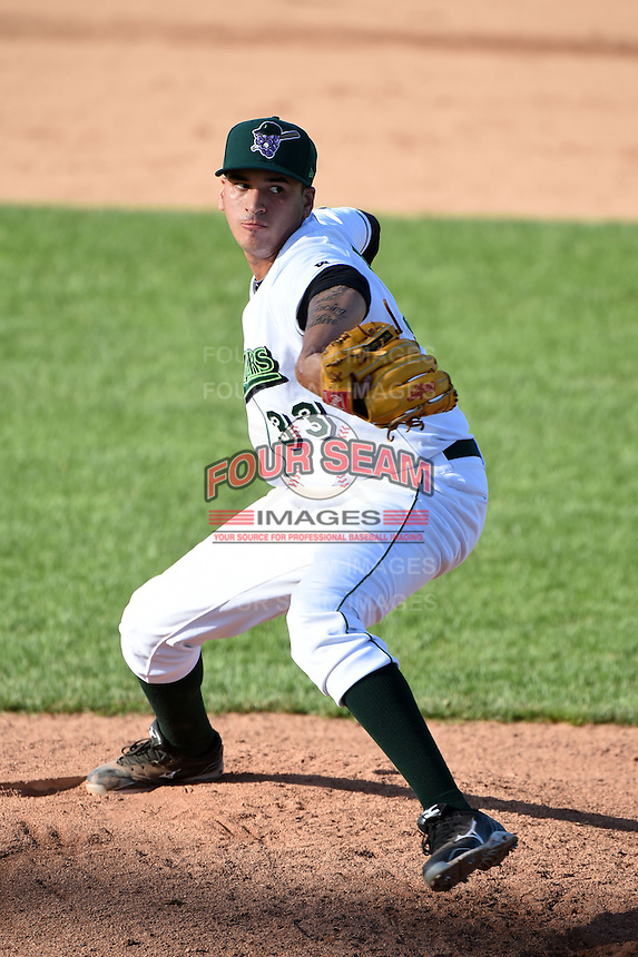 Jamestown Jammers pitcher Julio Eusebio (33) delivers a pitch during a game against the Mahoning Valley Scrappers on June 15, 2014 at Russell Diethrick Park in Jamestown, New York.  Jamestown defeated Mahoning Valley 9-4.  (Mike Janes/Four Seam Images)