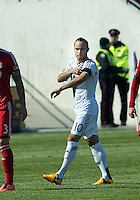 30 March 2013: Los Angeles Galaxy midfielder Landon Donovan #10 adjusts his captain's arm band during an MLS game between the LA Galaxy and Toronto FC at BMO Field in Toronto, Ontario Canada..The game ended in a 2-2 draw..