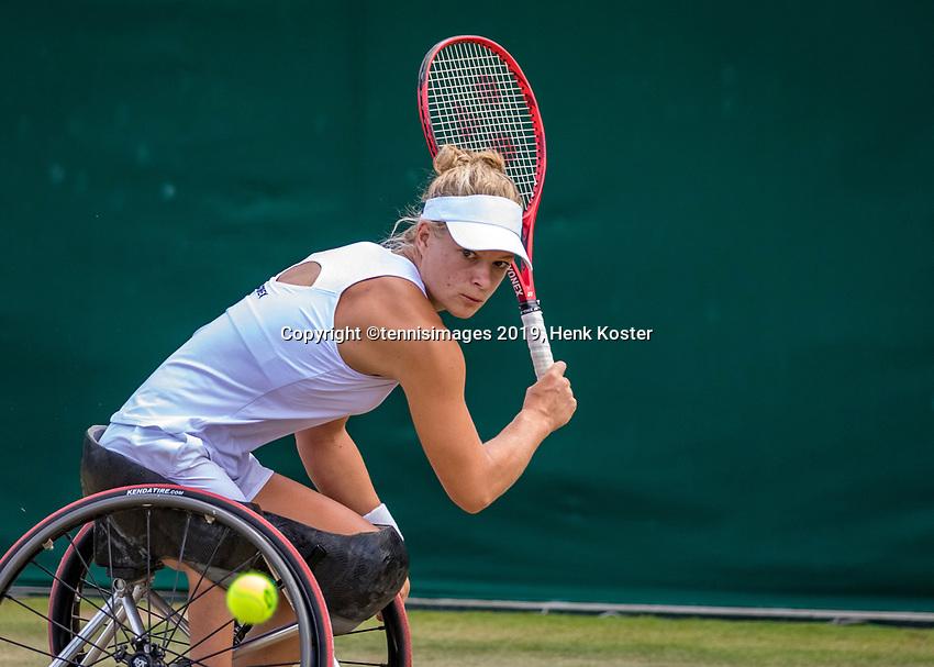 London, England, 11 July, 2019, Tennis,  Wimbledon, Ladies Wheelchair single: Diede de Groot (NED)<br /> Photo: Henk Koster/tennisimages.com