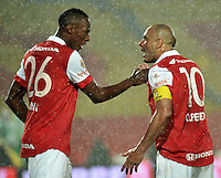 BOGOTA - COLOMBIA -27 -01-2015: Yerry Mina (Izq.) y Omar Perez (Der.) jugadores de Independiente Santa Fe celebran el gol anotado al Atletico Nacional, durante partido de vuelta entre Independiente Santa Fe y Atletico Nacional por la Super Liga 2015. / Yerry Mina(L) and Omar Perez (R) players of Independiente Santa Fe celebrate a goal scored to Atletico Nacional, during the match between Independiente Santa Fe and Atletico for the second leg of the Super Liga 2015 at the Nemesio Camacho El Campin Stadium in Bogota city. Photo: VizzorImage / Luis Ramirez / Staff.