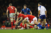 17th March 2018, Principality Stadium, Cardiff, Wales; NatWest Six Nations rugby, Wales versus France; Gareth Davies of Wales passes the ball off from a ruck