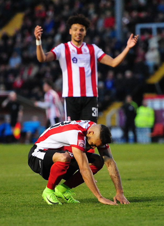 Lincoln City's Nathan Arnold reacts after missing a chance first half<br /> <br /> Photographer Chris Vaughan/CameraSport<br /> <br /> Vanarama National League - Lincoln City v Chester - Tuesday 11th April 2017 - Sincil Bank - Lincoln<br /> <br /> World Copyright &copy; 2017 CameraSport. All rights reserved. 43 Linden Ave. Countesthorpe. Leicester. England. LE8 5PG - Tel: +44 (0) 116 277 4147 - admin@camerasport.com - www.camerasport.com