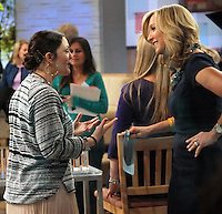 NEW YORK, NY - JANUARY 21: Lara Spencer  interviews Drew Barrymore at Good Morning America in New York City ppromoting her new 'Flower' make up line. January 21, 2013. Credit: RW/MediaPunch Inc. /NortePhoto