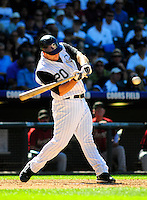07 September 08: Colorado Rockies catcher Chris Iannetta at bat against the Houston Astros. The Houston Astros defeated the Colorado Rockies 7-5 at Coors Field in Denver, Colorado. FOR EDITORIAL USE ONLY