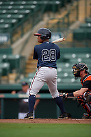 GCL Braves Denzel Bryson (28) at bat during a Gulf Coast League game against the GCL Orioles on August 5, 2019 at Ed Smith Stadium in Sarasota, Florida.  GCL Orioles defeated the GCL Braves 4-3 in the first game of a doubleheader.  (Mike Janes/Four Seam Images)