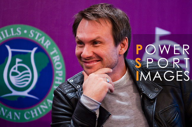 HAIKOU, CHINA - OCTOBER 27:  Hollywood super star actor Christian Slater of USA attends the opening press conference of the Mission Hills Star Trophy on October 27, 2010 in Haikou, China. The Mission Hills Star Trophy is Asia's leading leisure liflestyle event and features Hollywood celebrities and international golf stars. Photo by Victor Fraile / The Power of Sport Images
