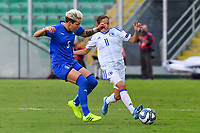 Elena Linari of Italy vies for the ball with Selma Kapetanovic  of Bosnia and Herzegovina<br /> Palermo 08-10-2019 Stadio Renzo Barbera <br /> UEFA Women's European Championship 2021 qualifier group B match between Italia and Bosnia-Herzegovina.<br /> Photo Carmelo Imbesi / Insidefoto