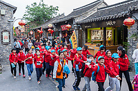 Yangzhou, Jiangsu, China.  Chinese School Students in Dong Guan Street Scene.