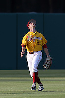 Garret Houts #25 of the USC Trojans waits under a fly ball during a game against the California Bears at Dedeaux Field on April 5, 2012 in Los Angeles,California. California defeated USC 5-4.(Larry Goren/Four Seam Images)
