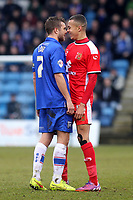 Doug Loft of Gillingham and Dele Alli of MK Dons during Gillingham vs MK Dons, Sky Bet League One Football at the MEMS Priestfield Stadium on 14th February 2015