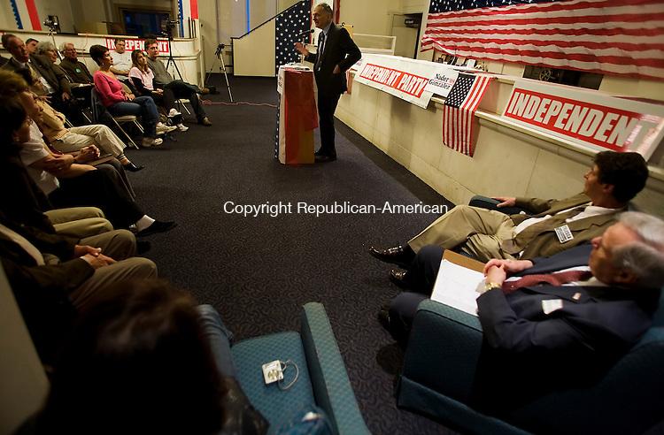 WATERBURY--27 April 2008--042708TJ05 - Independent Party presidential hopeful Ralph Nader speaks to an audience of several dozen people in Waterbury on Sunday, April 27, 2008. (T.J. Kirkpatrick/Republican-American)