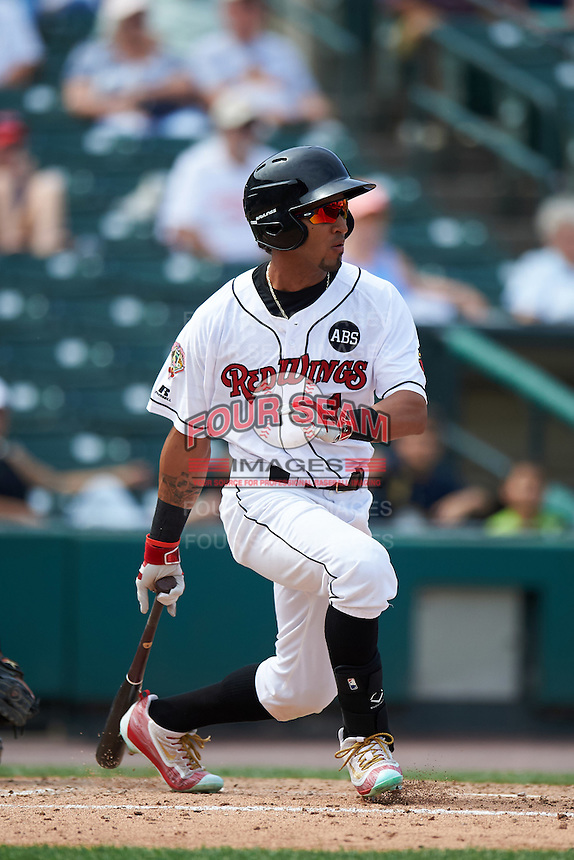 Rochester Red Wings center fielder Eddie Rosario (1) at bat during a game against the Columbus Clippers on June 16, 2016 at Frontier Field in Rochester, New York.  Rochester defeated Columbus 6-2.  (Mike Janes/Four Seam Images)